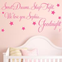 Personalised Sweet Dreams Baby / Childrens ~ Wall sticker / decals